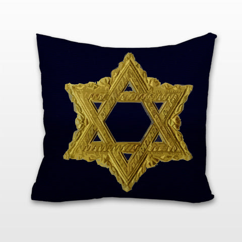 Regal Star of David on Navy, Cushion, Pillow