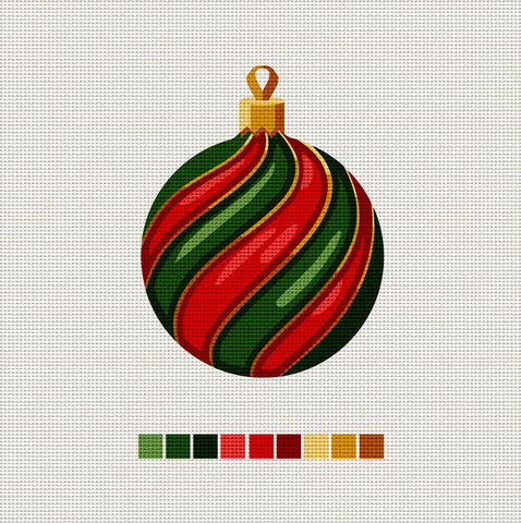 Green & Red Ball, Needlepoint Christmas Ornament