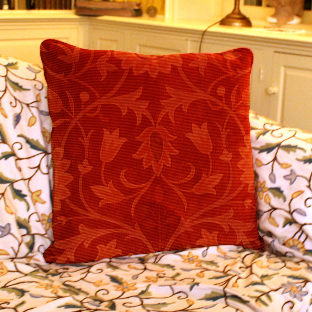 Little Flower Carpet Design in Red. Needlepoint Cushion, Pillow