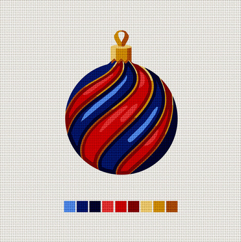 Blue & Red Ball, Needlepoint Christmas Ornament