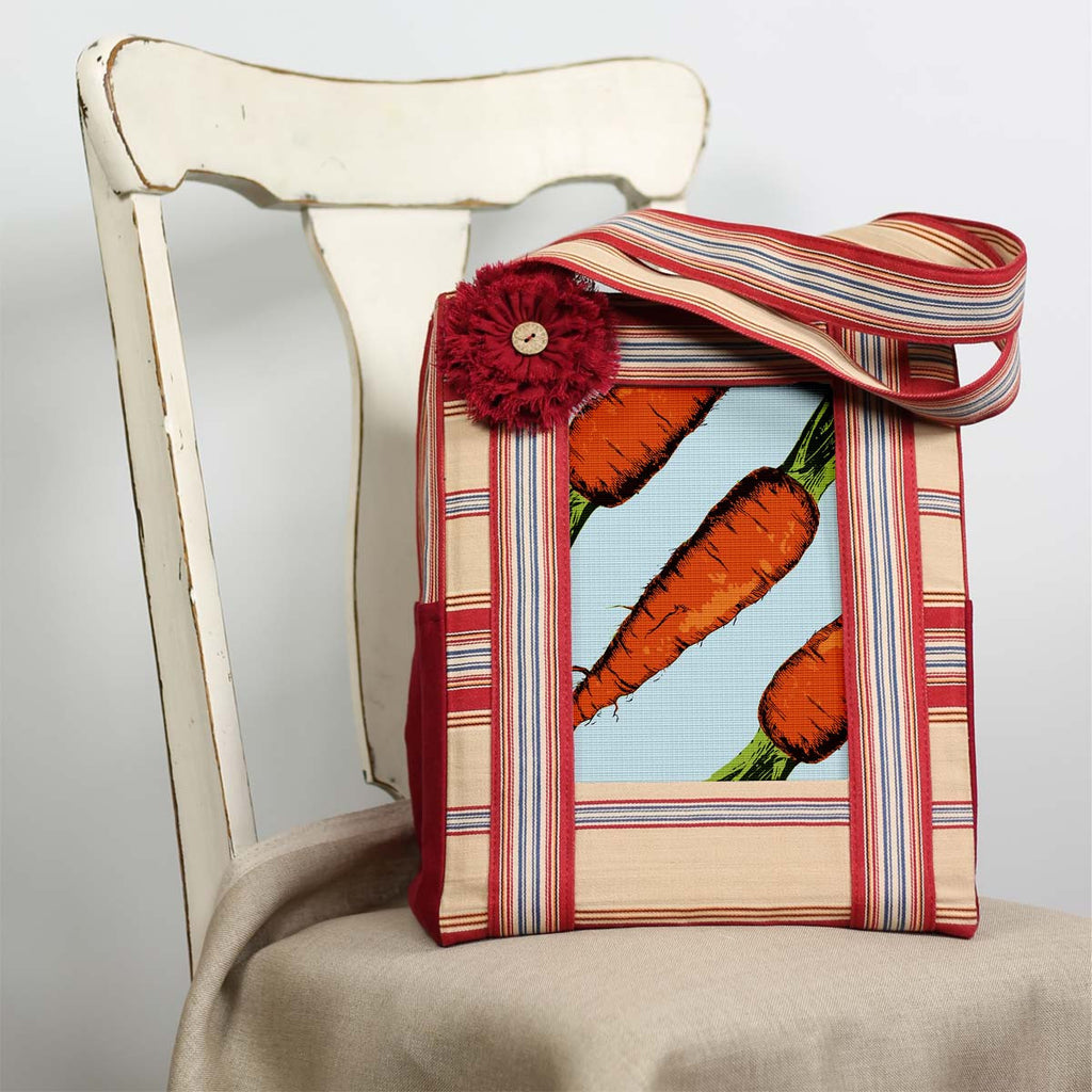 Farmers Market Bag, ft. Colorful Carrots Needlepoint Canvas.