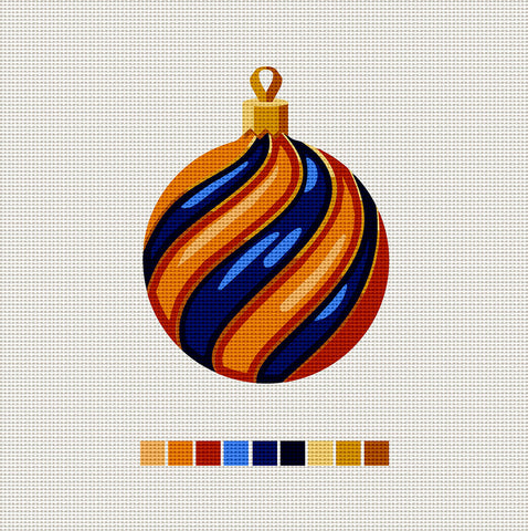 Orange & Blue Ball, Needlepoint Christmas Ornament