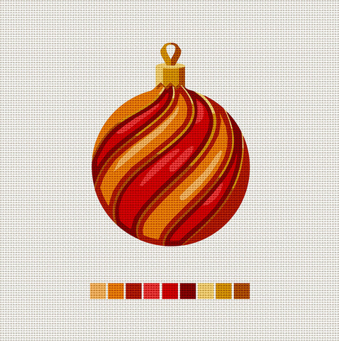 Orange & Red Ball, Needlepoint Christmas Ornament