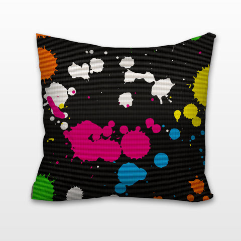 80's Paint Splatter, Cushion, Pillow