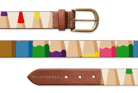 Pencil Pop Art, Needlepoint Belt