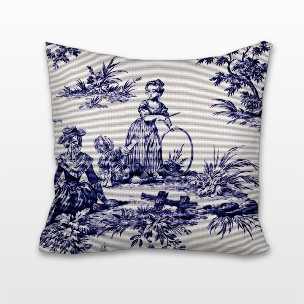 Playtime - Blue and White Toile, Cushion, Pillow