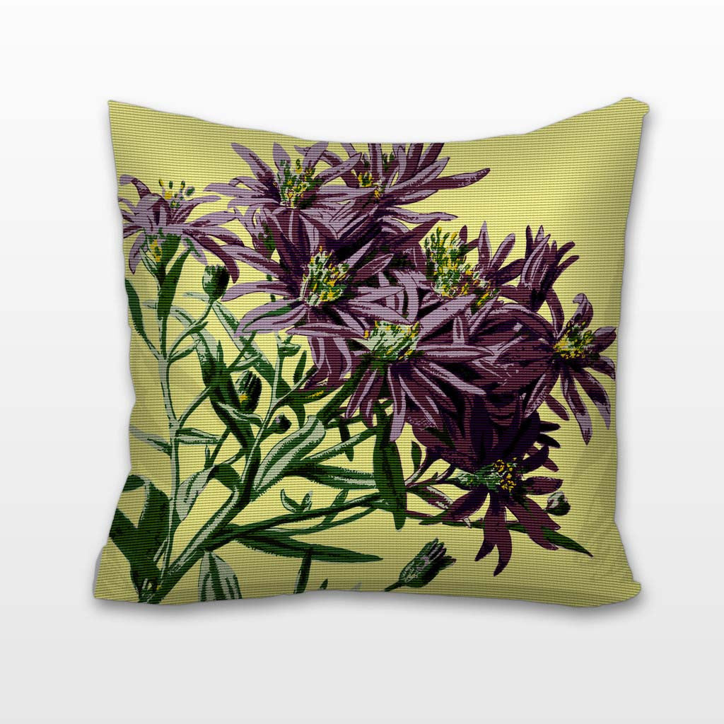 Purple Blooms, Needlepoint Cushion, Pillow