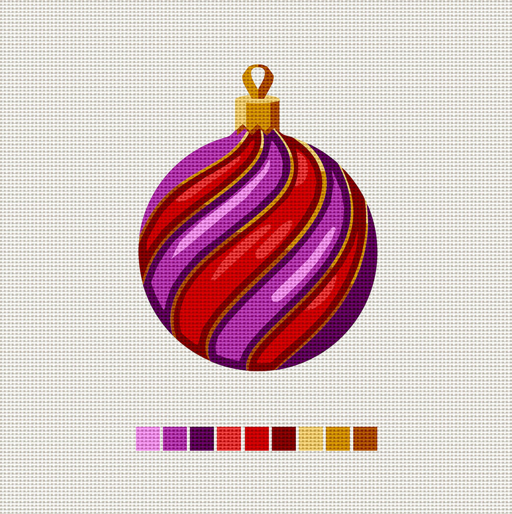 Purple & Red Ball, Needlepoint Christmas Ornament