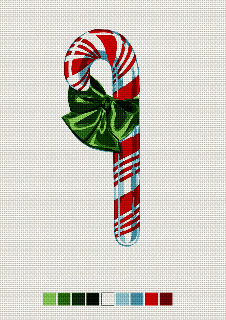 Red Candy Cane, Needlepoint Christmas Ornament