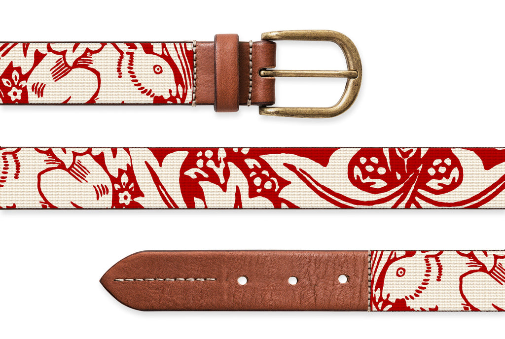 Red Rabbits, Needlepoint Belt