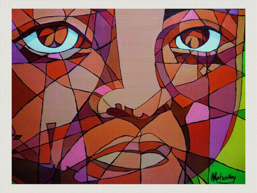 Red Abstracted Face, Robert Mahosky