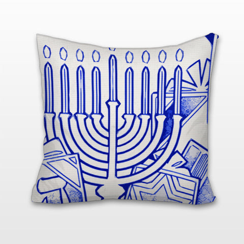 Menorah in Blue and White, Cushion, Pillow