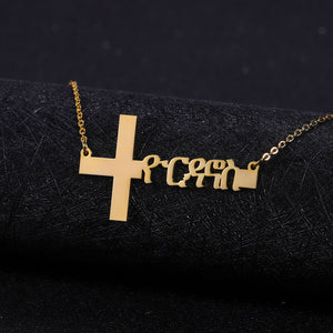 Personalized Amharic Cross Necklace