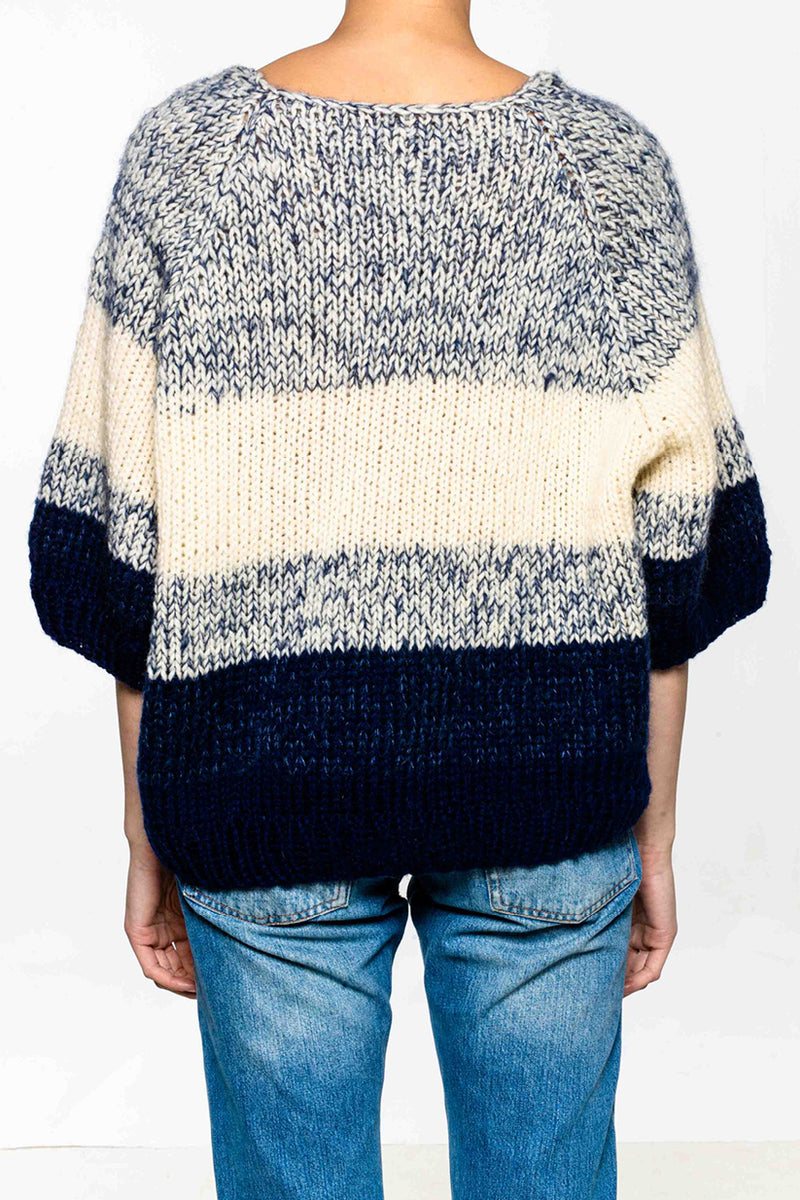 Hand knitted sweater in wool and mohair. Loose fit. Stripes. V-neck