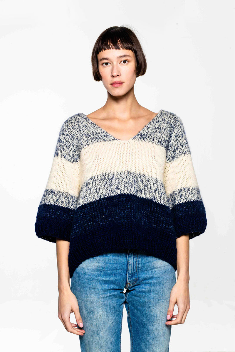 Yoko Sweater White/Blue