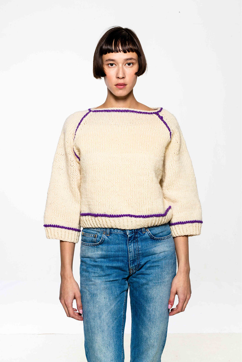 Edie 3/4 Sweater White