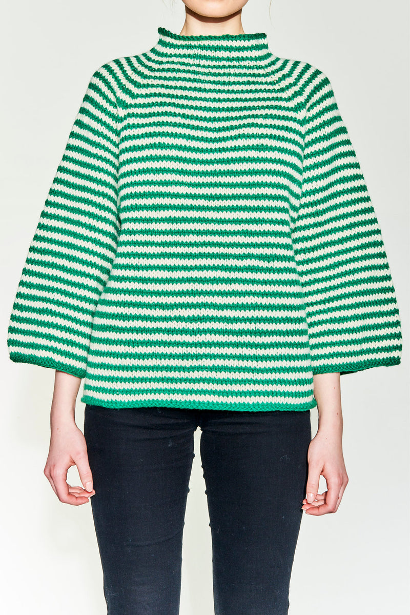 Hand knitted sweater with stripes and buttons. 100% pure wool.