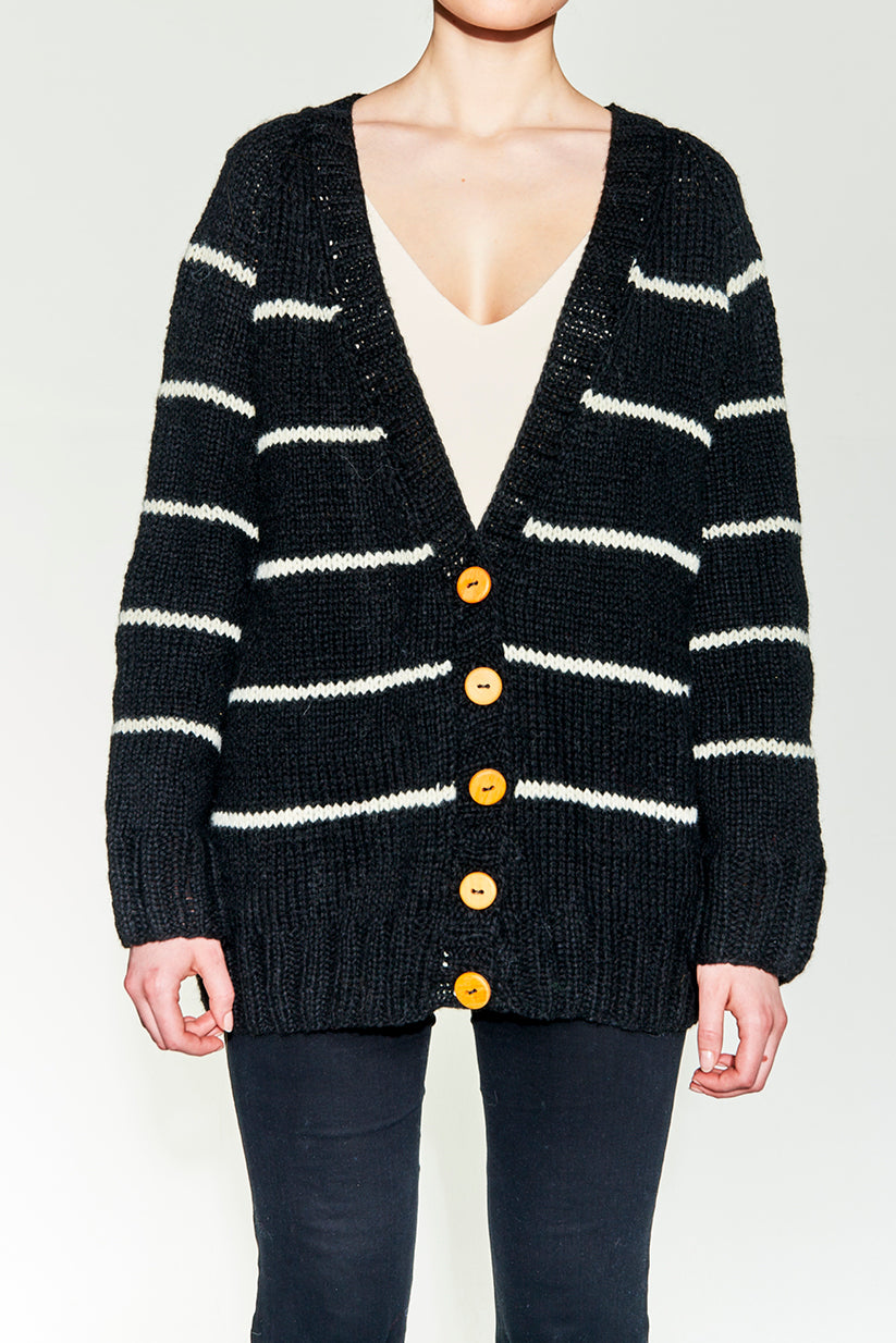 Hand knitted cardigan with stripes and buttons. 100% pure wool.