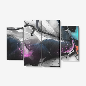 "dissipated - 4 Piece Canvas Wall Art for Living Room - Framed Ready to Hang 4x12""x32"