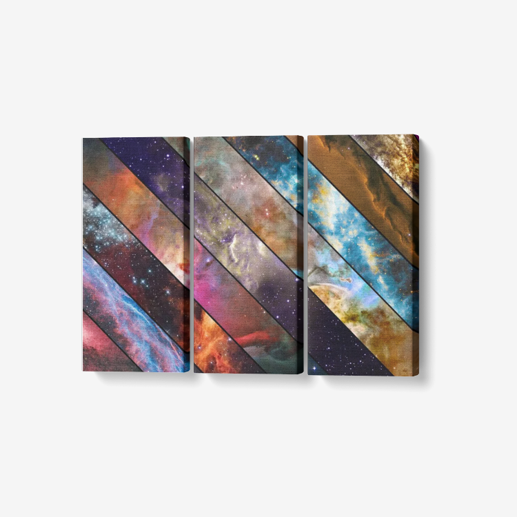 "galactics - 3 Piece Canvas Wall Art for Living Room - Framed Ready to Hang 3x8""x18"""