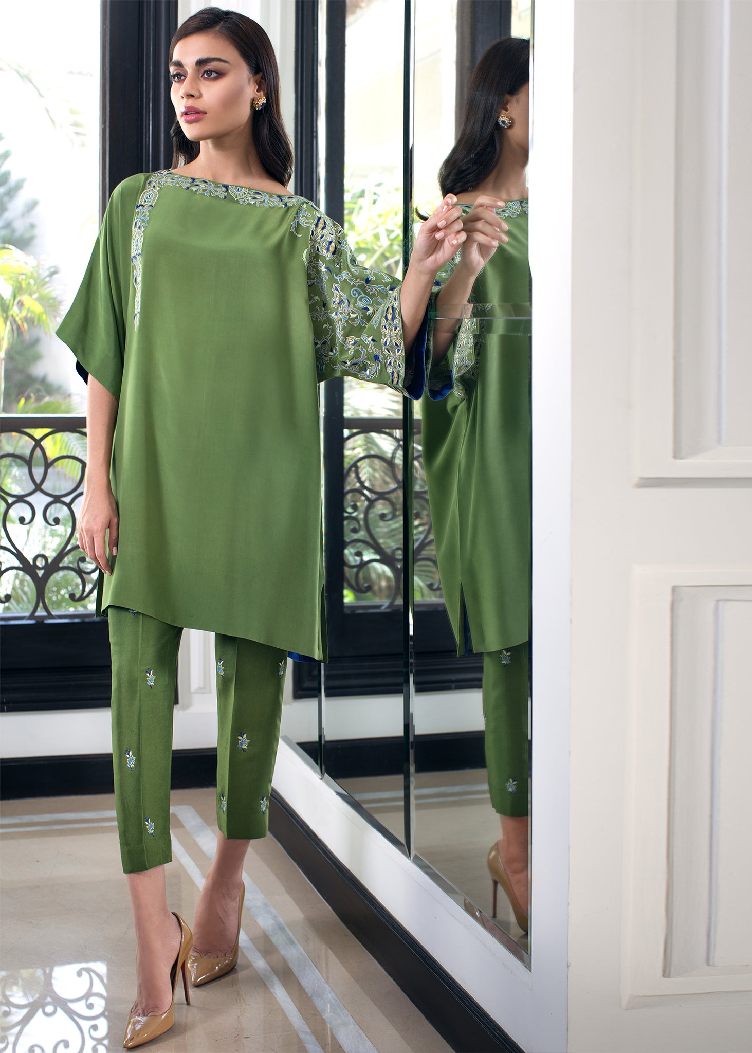 RAW SILK BOOTI EMBROIDERED PANTS