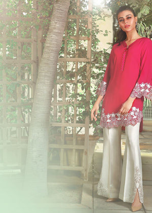 RAW SILK EMBROIDERED BOOTLEG PANTS WITH SLITS