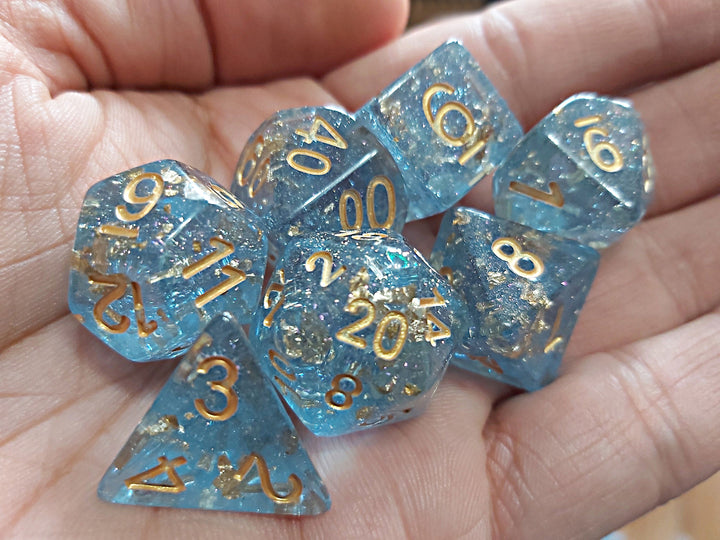 Gold Flakes Dice Set - Blue - The Wizard's Vault