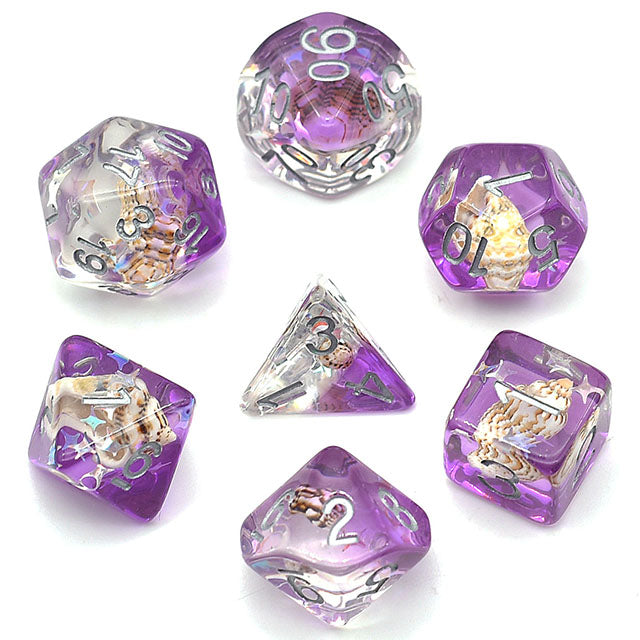 Seashell Dice Set - Violet - The Wizard's Vault