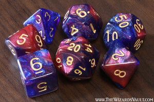 Galaxy Dice Set Blue Red Purple - The Wizard's Vault
