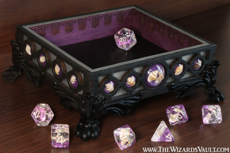 Seashell dice tray - Violet - The Wizard's Vault