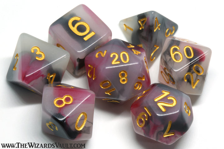 Milky Dice Set Red Black White - The Wizard's Vault
