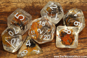 Taiga Moss dice set - Orange and black - The Wizard's Vault