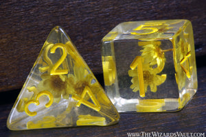 Tiny Yellow Flowers dice set - The Wizard's Vault