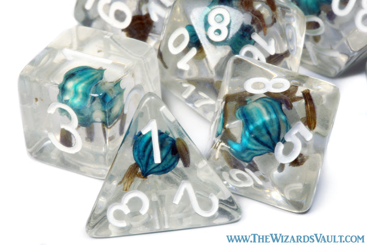 Turquoise blue flower Lavender dice set - The Wizard's Vault