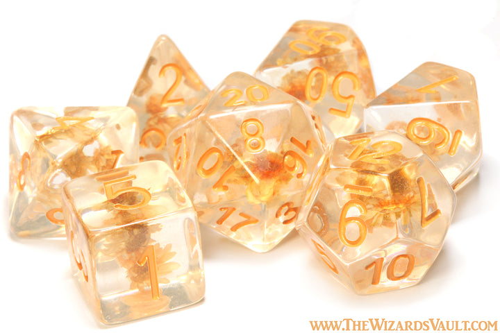 Tiny Orange Flower dice set - The Wizard's Vault