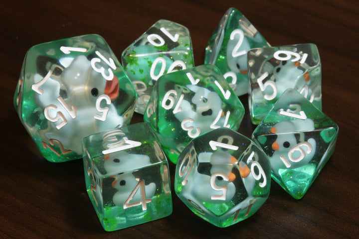 Green Pond Duckling Dice and Mama Duck - The Wizard's Vault