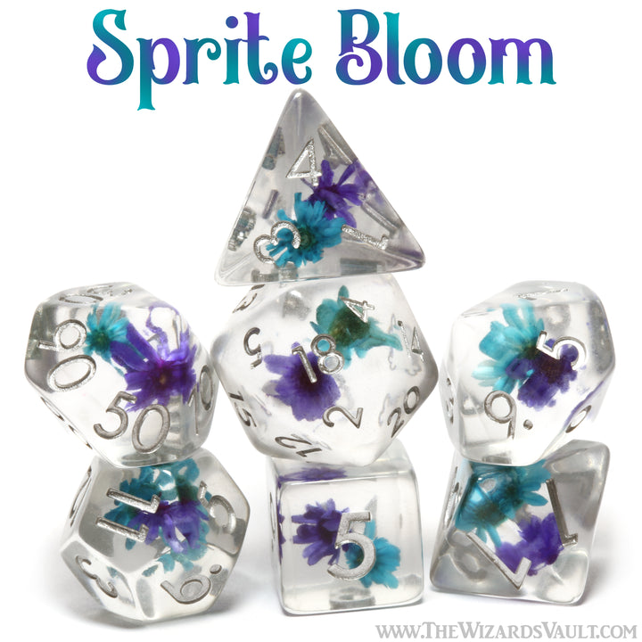 Purple and turquoise blue flower dice set - The Wizard's Vault