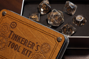 Tinkerer's tool kit dice set with metal box - The Wizard's Vault