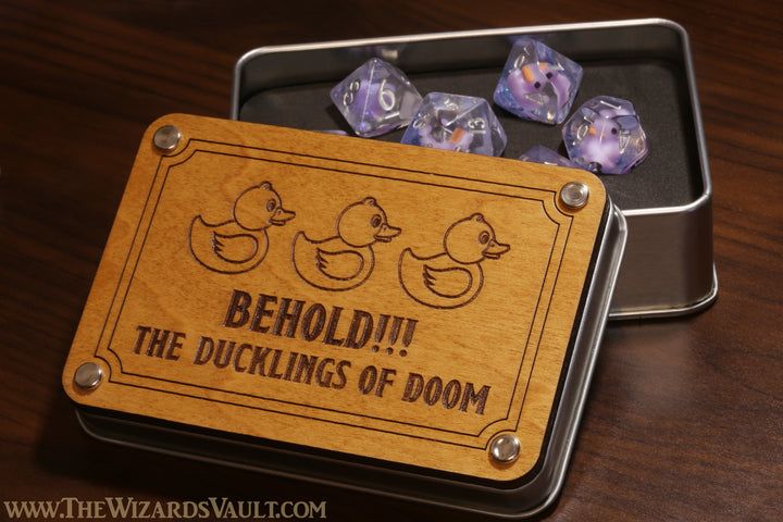 Behold !! The ducklings of doom dice set with metal box - The Wizard's Vault