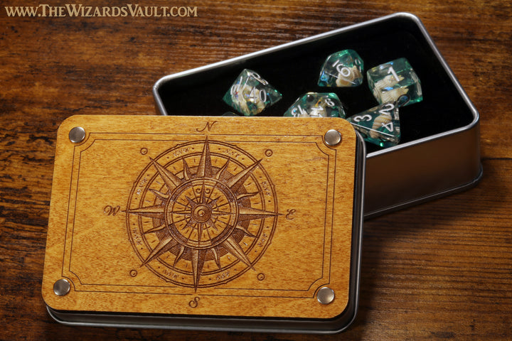 Compass rose dice box and seashell dice set - The Wizard's Vault