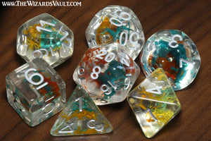 Feywild Moss dice set - Orange, yellow, teal and sea green - The Wizard's Vault