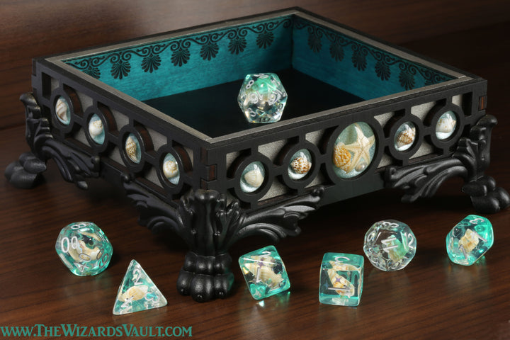 Seashell dice tray - Aqua - The Wizard's Vault