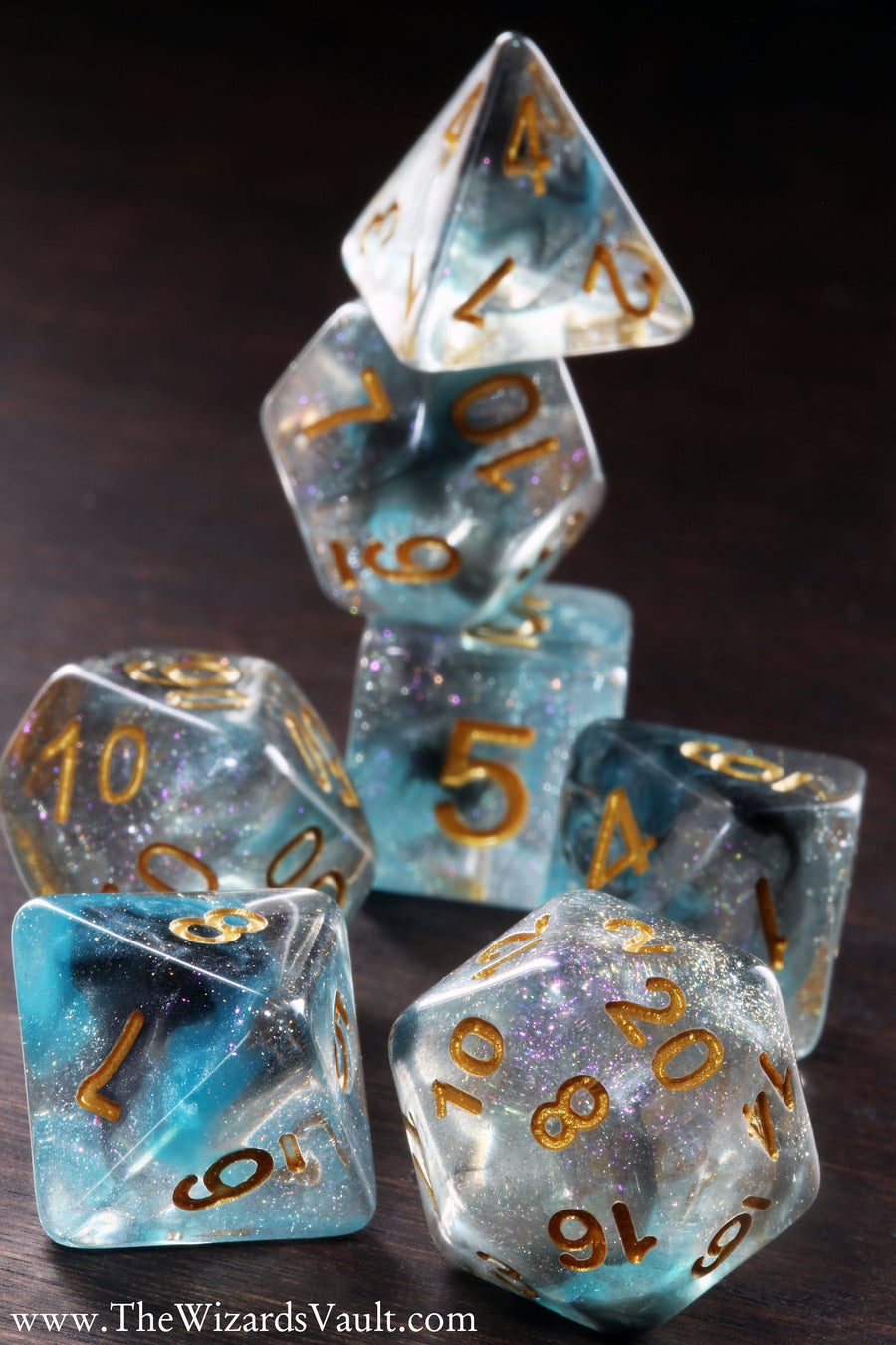 Teal and Black Swirls Dice Set - The Wizard's Vault
