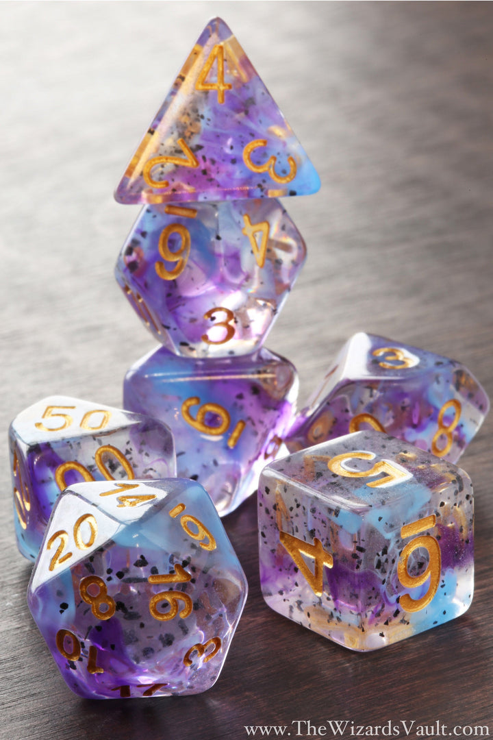 Purple Blue Swirls Dice Set - The Wizard's Vault