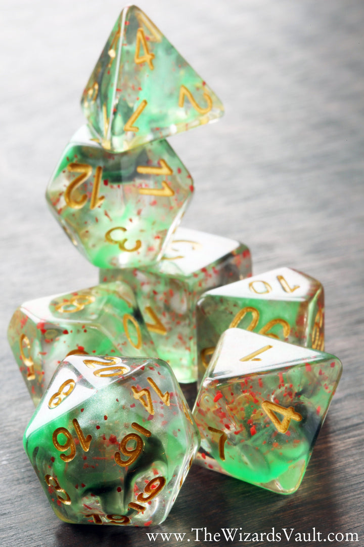 Venom Splash Green and Black Swirls Dice Set - The Wizard's Vault