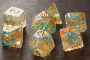 Swirls Dice Set Golden with turquoise orange - The Wizard's Vault
