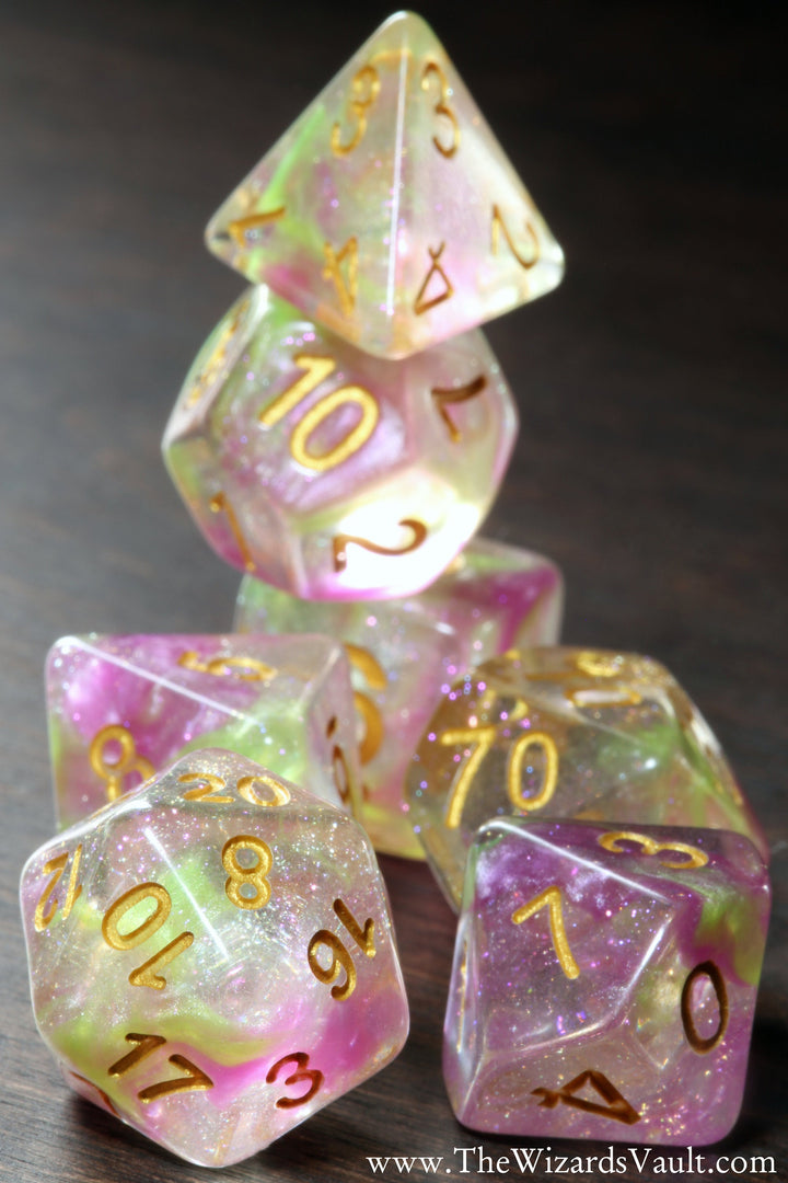 Pink and yellow swirls Dice Set - The Wizard's Vault