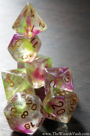 Swirls Dice Set Pink and yellow - The Wizard's Vault