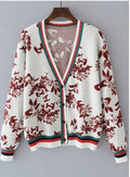casual v neck long sleeve floral printed button down cardigan