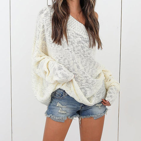 Casual Sexy Off The Shoulder Long Sleeve Loose Pullover Sweater